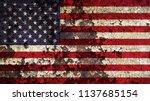 old grunge usa flag | Shutterstock . vector #1137685154