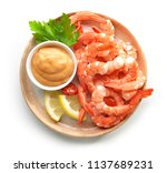 plate of boiled prawns and... | Shutterstock . vector #1137689231