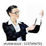 eautiful business woman in...   Shutterstock . vector #1137696701
