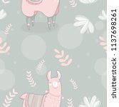 seamless pattern with lama in... | Shutterstock .eps vector #1137698261