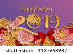 happy chinese new year 2019... | Shutterstock .eps vector #1137698987
