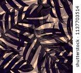 palm monstera seamless pattern. ... | Shutterstock .eps vector #1137703514