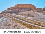 the narrow curved stone... | Shutterstock . vector #1137704807