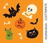 cute vector set with halloween... | Shutterstock .eps vector #1137709475