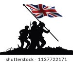 england flag and soldiers... | Shutterstock .eps vector #1137722171