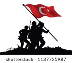 turkish flag and soldiers... | Shutterstock .eps vector #1137725987