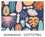 contemporary exotic jungle... | Shutterstock .eps vector #1137727961