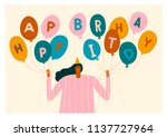 birthday card with women... | Shutterstock .eps vector #1137727964