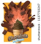 chocolate ice cream poster... | Shutterstock .eps vector #1137733247