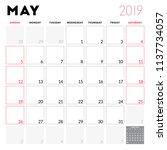 calendar planner for may 2019.... | Shutterstock .eps vector #1137734057