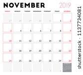 calendar planner for november... | Shutterstock .eps vector #1137734081