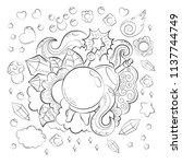 halloween concept. hand drawn... | Shutterstock .eps vector #1137744749