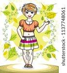 pretty little redhead girl...   Shutterstock .eps vector #1137748061