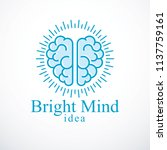 bright mind vector logo or icon ... | Shutterstock .eps vector #1137759161