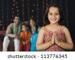 girl greeting on diwali... | Shutterstock . vector #113776345