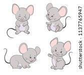 set of cute little cartoon mice.... | Shutterstock .eps vector #1137765947