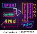 colorful neon luminous night... | Shutterstock .eps vector #1137767537