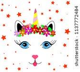 sweet unicorn vector... | Shutterstock .eps vector #1137772484