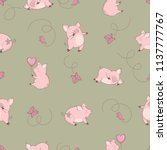 seamless pattern with cute pigs ... | Shutterstock .eps vector #1137777767