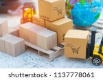 close up of mini forklift truck ... | Shutterstock . vector #1137778061