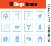 dogs icon set. blue frame... | Shutterstock .eps vector #1137779684