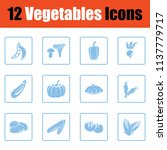 vegetables icon set. blue frame ... | Shutterstock .eps vector #1137779717