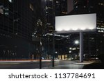 blank billboard at night time... | Shutterstock . vector #1137784691