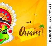 happy onam  harvest festival...   Shutterstock .eps vector #1137794261