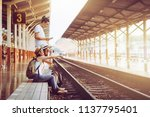 pictures of a smiling young... | Shutterstock . vector #1137795401