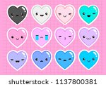 kawaii hearts with various... | Shutterstock .eps vector #1137800381
