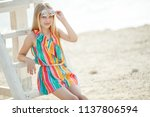 fashionable young girl  | Shutterstock . vector #1137806594