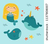 beautiful little mermaid with... | Shutterstock .eps vector #1137808007
