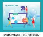 people work in a team and...   Shutterstock .eps vector #1137811007
