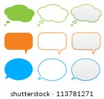clouds and bubbles for speech | Shutterstock .eps vector #113781271
