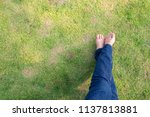 woman wearing blue jeans laying ... | Shutterstock . vector #1137813881
