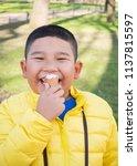 asian chubby boy eating... | Shutterstock . vector #1137815597