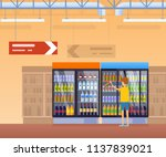 supermarket shelves  fridge... | Shutterstock .eps vector #1137839021