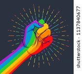 rainbow colored hand with a... | Shutterstock .eps vector #1137840677