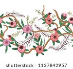 seamless border with tropical...   Shutterstock .eps vector #1137842957