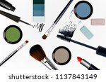 cosmetic with make up tools on...   Shutterstock . vector #1137843149