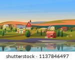 vector small town landscape... | Shutterstock .eps vector #1137846497