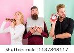 girl brushing hair men work...   Shutterstock . vector #1137848117