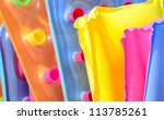 Group of colorful floating beds - stock photo