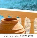 Traditional Greek vase on Santorini island -  Greece - stock photo