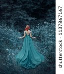 red haired girl in a blue ... | Shutterstock . vector #1137867167