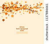 branch with autumn leaves.... | Shutterstock .eps vector #1137886661