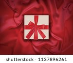 gift box with red ribbon on...   Shutterstock .eps vector #1137896261