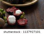 mangosteen tropical fruit   Shutterstock . vector #1137927101