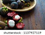 mangosteen tropical fruit   Shutterstock . vector #1137927119