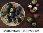 mangosteen tropical fruit flat...   Shutterstock . vector #1137927125